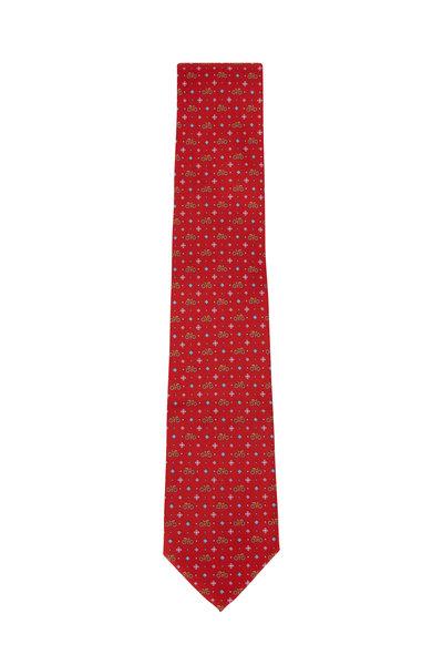 Salvatore Ferragamo - Red Bicycle Pattern Silk Necktie