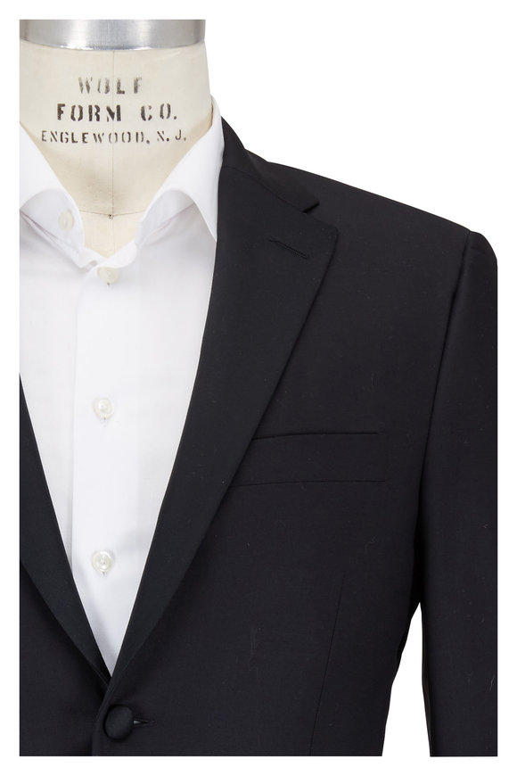 Hickey Freeman Black Wool Notched Lapel Tuxedo