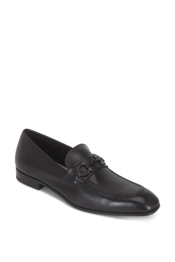 Salvatore Ferragamo Asten Black Gancini Bit Loafer