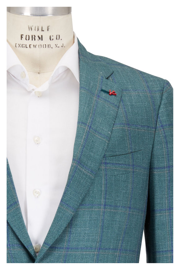 Isaia Green Plaid Wool, Cashmere, Silk & Linen Sportcoat
