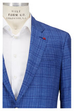 Isaia - Blue Tonal Plaid Cashmere, Silk & Linen Sportcoat