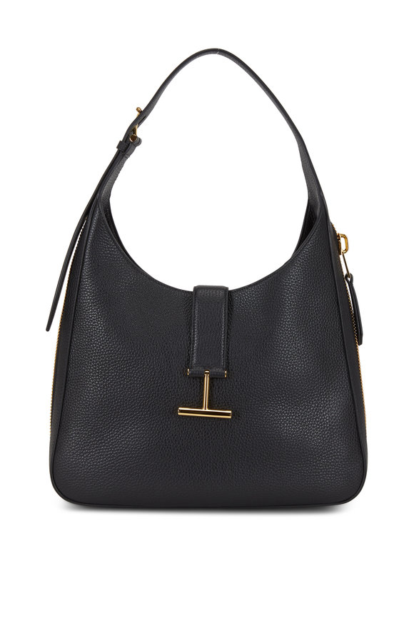 Tom Ford Tara Black Leather Zip Slim Hobo Bag