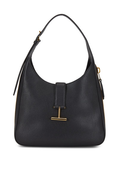 Tom Ford - Tara Black Leather Zip Slim Hobo Bag