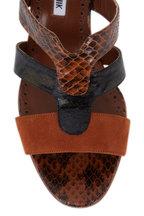 Manolo Blahnik - Pennina Brown Suede & Snakeskin Mule, 70mm