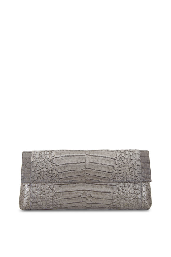 Nancy Gonzalez Gray Crocodile Tonal Colorblock Clutch