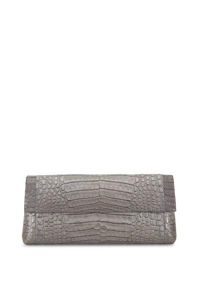Nancy Gonzalez - Gray Crocodile Tonal Colorblock Clutch