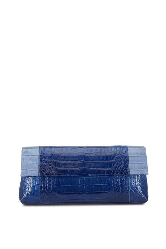 Nancy Gonzalez Blue Crocodile Tonal Colorblock Clutch