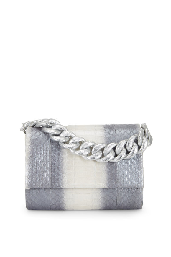 Nancy Gonzalez Silver Crocodile & Snakeskin Small Chain Bag