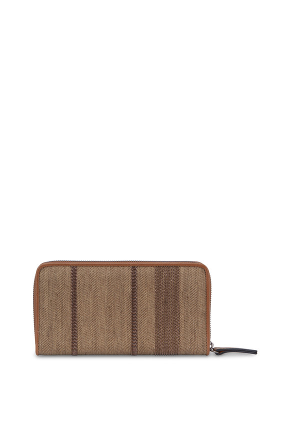 Brunello Cucinelli Desert Coated Canvas Zip Around Wallet