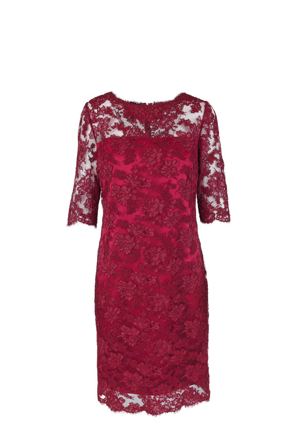 Olivine Gabbro Burgundy Lace Elbow Sleeve Dress