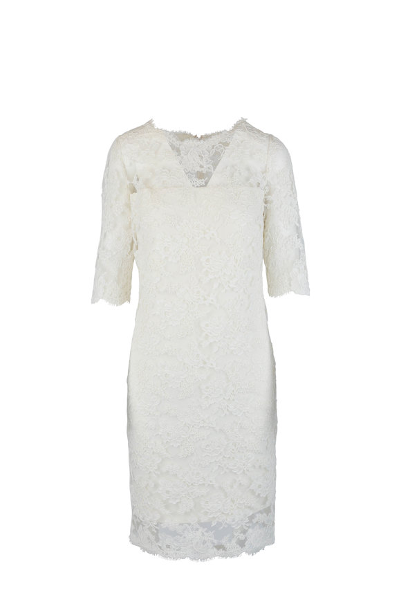 Olivine Gabbro Ivory Lace Elbow Sleeve Dress