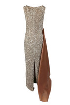 Olivine Gabbro - Champagne Sequin Side-Draped Sleeveless Gown