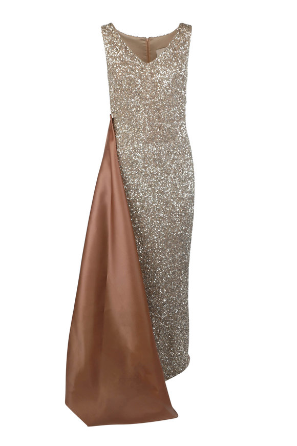 Olivine Gabbro Champagne Sequin Side-Draped Sleeveless Gown