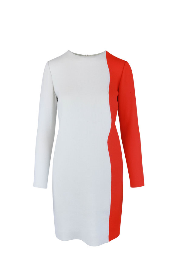 Olivine Gabbro Light Sea & Red Contour Long Sleeve Dress