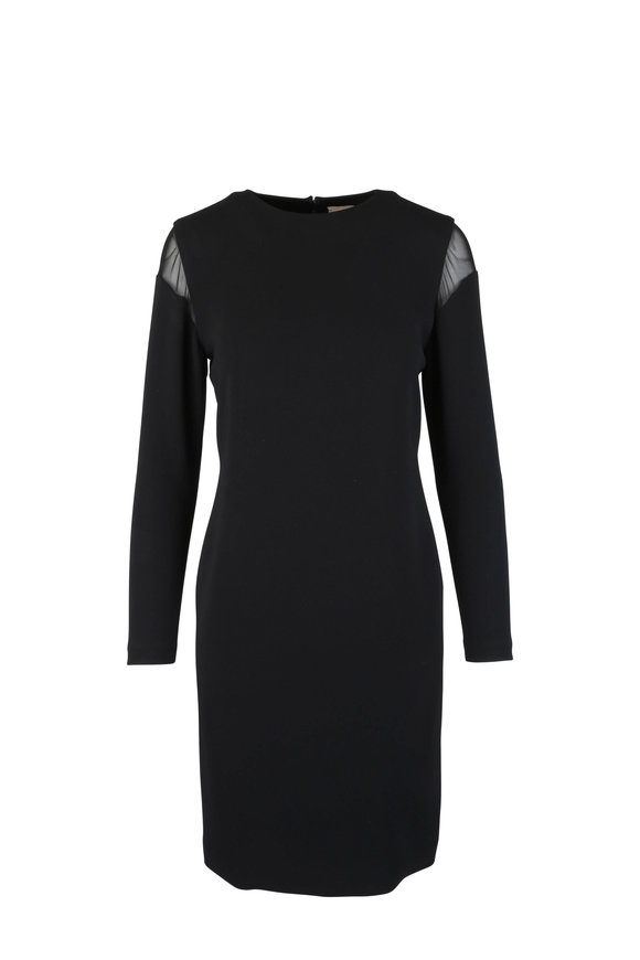 Olivine Gabbro Black Sheer Detail Dress