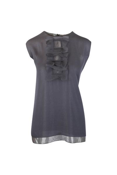 Olivine Gabbro - Gray Silk Illusion Cube Ruffled Sleeveless Blouse
