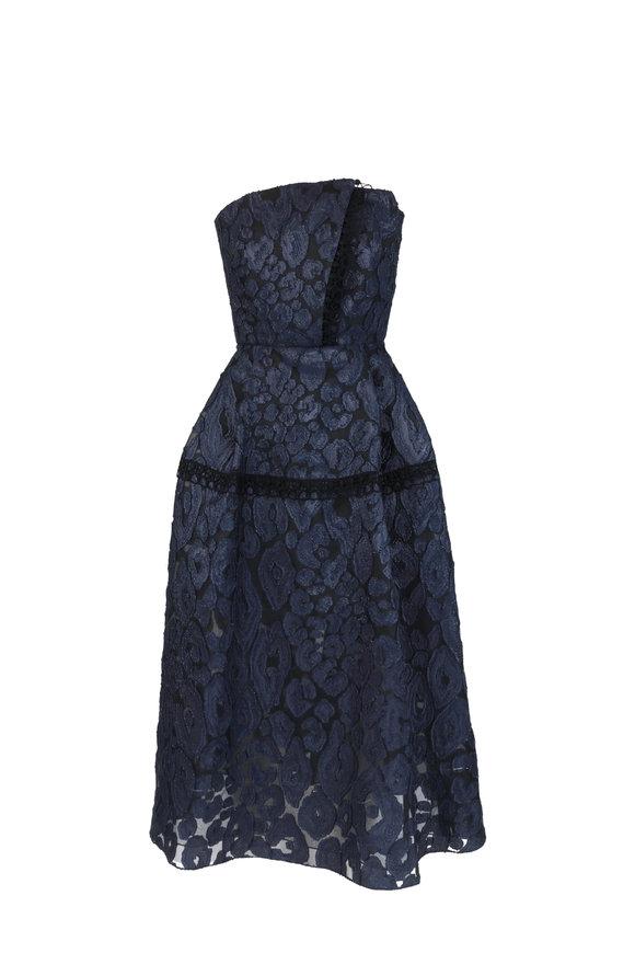Roland Mouret Navy Blue & Black Lace Strapless Dress