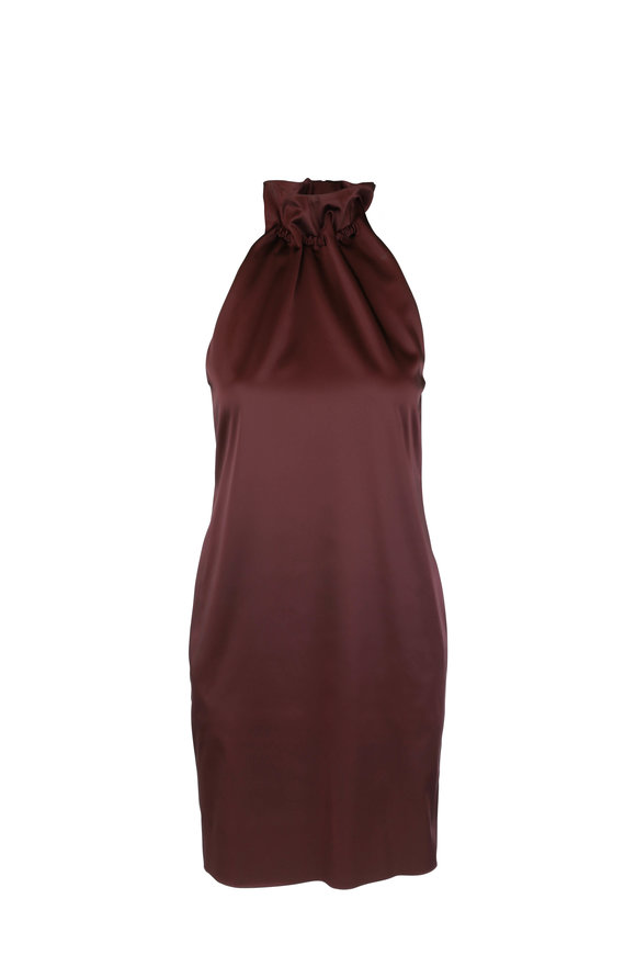 Rosetta Getty Maroon Drawstring Neck Dress