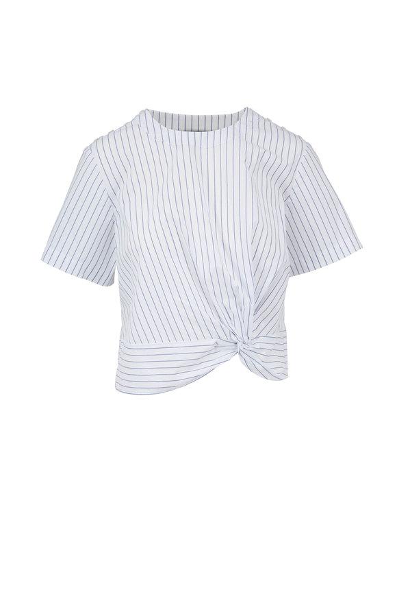 Veronica Beard Mariko Blue & White Striped Knot Top