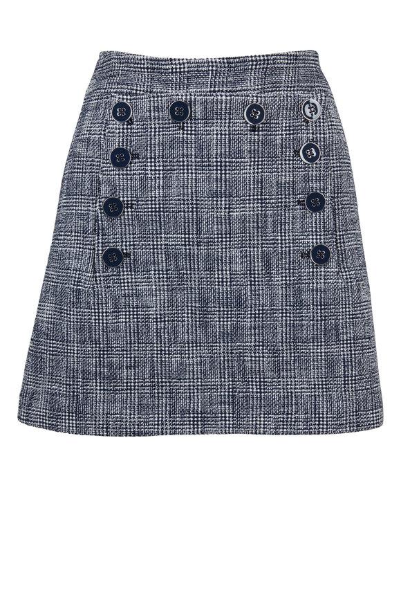 Veronica Beard Maida Navy & White Plaid Button Panel Mini Skirt