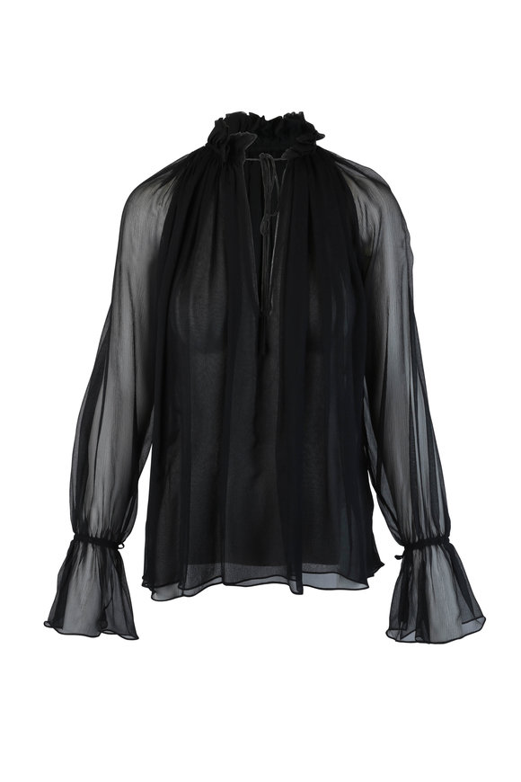 Nili Lotan Arizona Black Silk Blouse