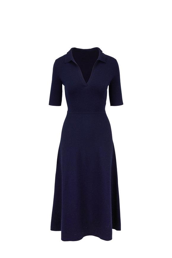 Gabriela Hearst Bourgeois Navy Knit Polo Dress