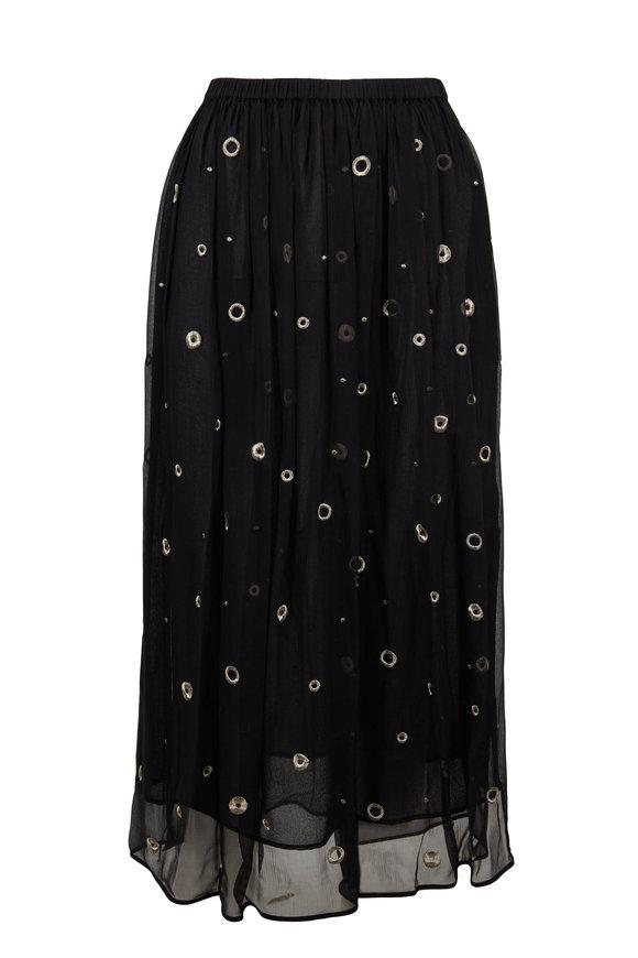 Vince Black Metallic Embroidery Skirt