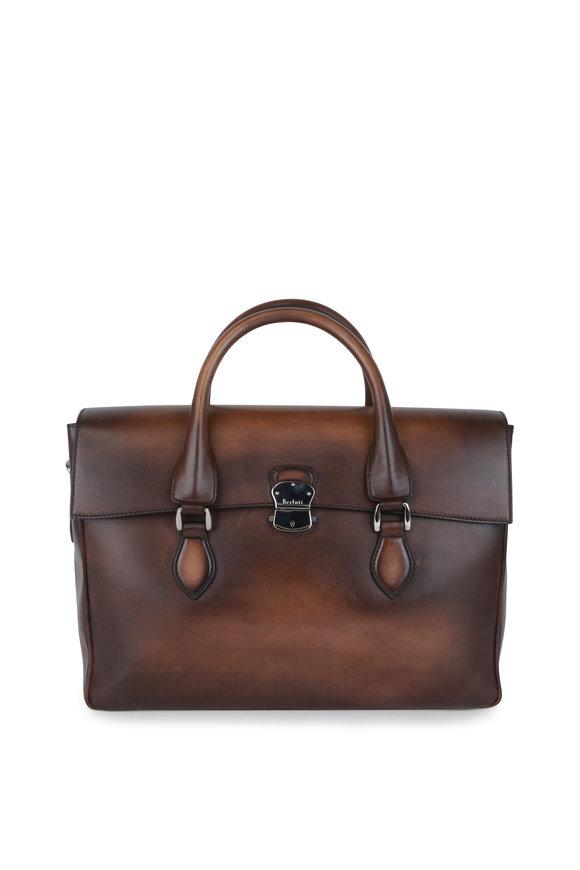 Berluti E'mio Tobacco Leather Briefcase