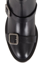 Jimmy Choo - Hank Black Leather Jewel Buckled Ankle Boot, 65mm