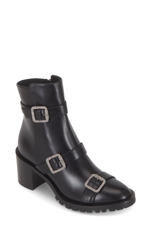 Jimmy Choo Hank Black Leather Jewel Buckled Ankle Boot, 65mm