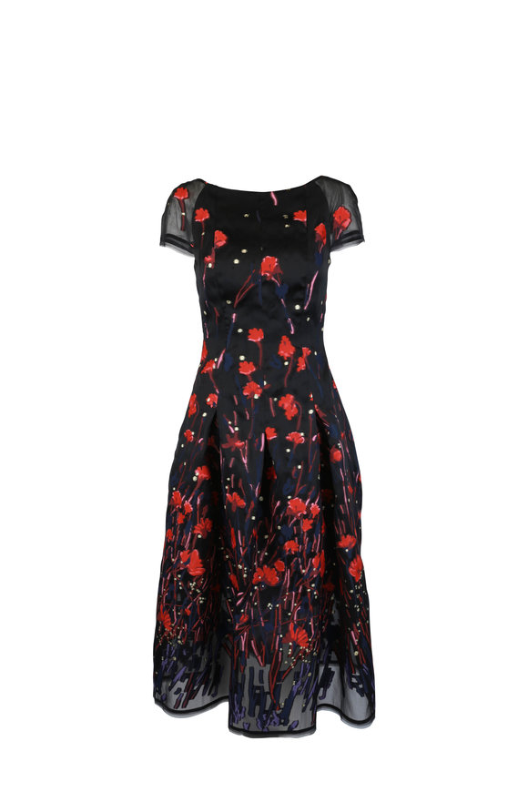 Talbot Runhof Black & Red Poppy Print Dress