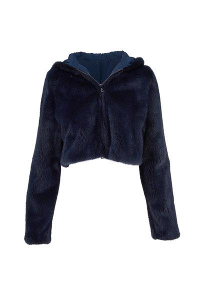 Oscar de la Renta Furs - Navy Mink Crop Hooded Jacket