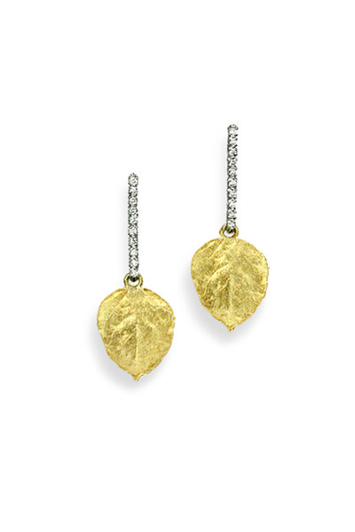 Aaron Henry - 19K Yellow Gold Tiny Aspen Leaf Earrings