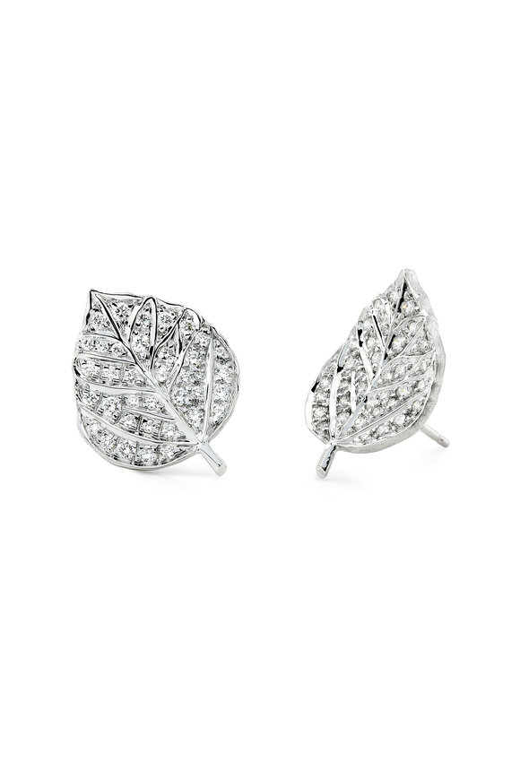 Aaron Henry 18K White Gold Diamond Leaf Earrings