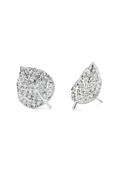 Aaron Henry - 18K White Gold Diamond Leaf Earrings