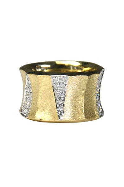 Aaron Henry - 19K Yellow Gold Bamboo Diamond Band