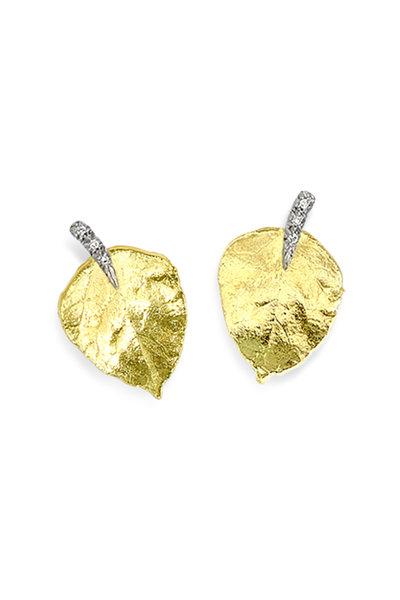Aaron Henry - 18K Yellow Gold Leaf Earrings
