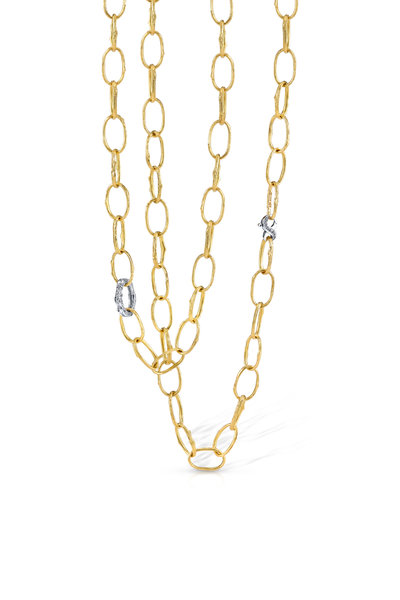 Aaron Henry - 18K Yellow Gold Open Olive Branch Link Necklace