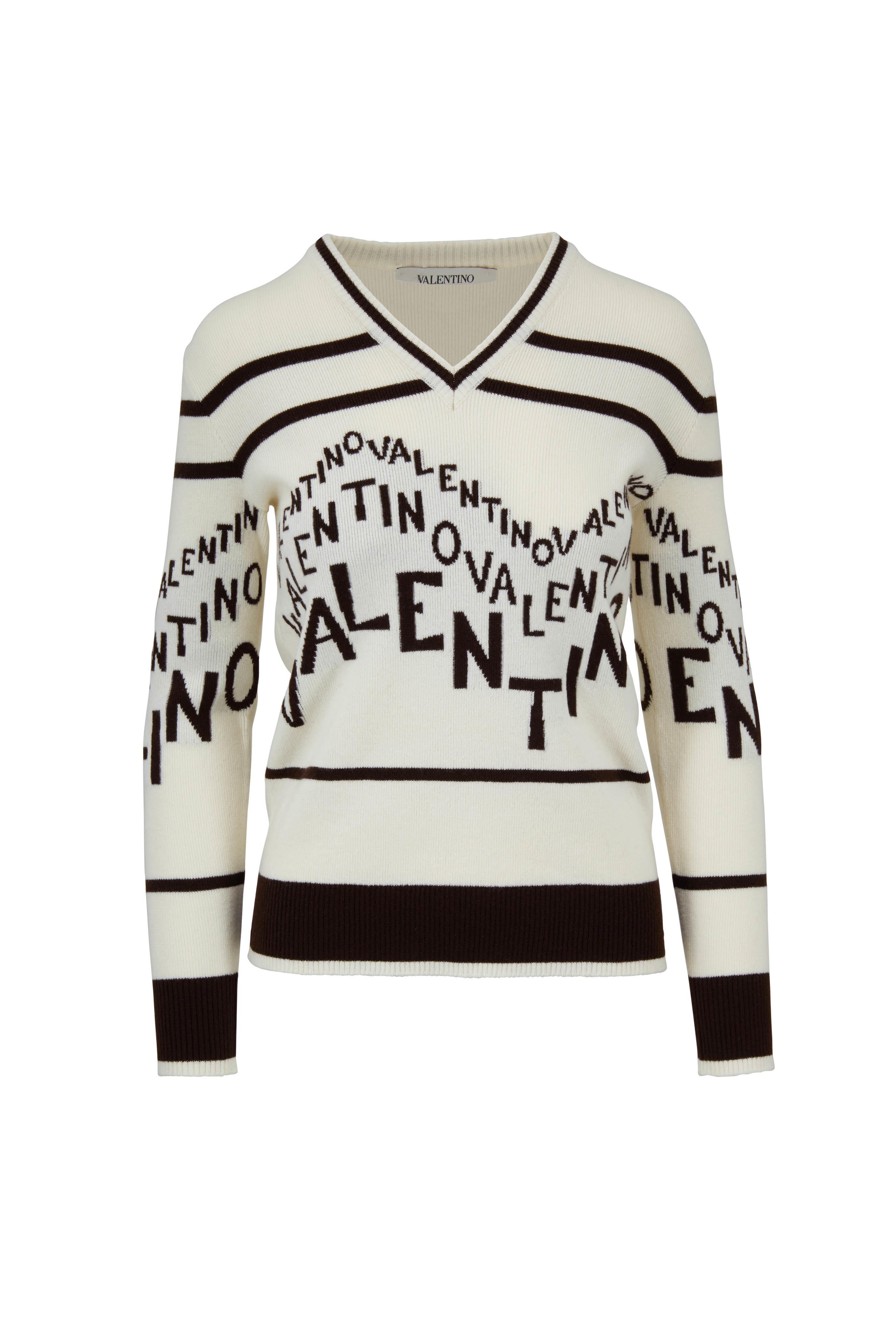 6773625f8035b4 Valentino - Logo Chevron Wool & Cashmere Sweater | Mitchell Stores