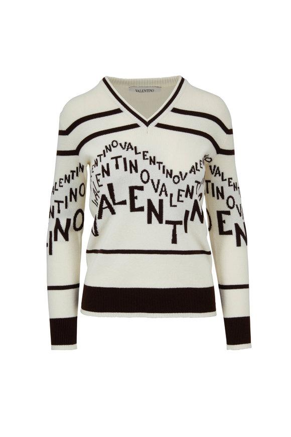 Valentino Logo Chevron Wool & Cashmere Sweater