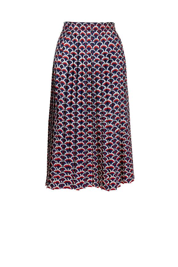 Valentino Brick & Black Silk Scale Skirt