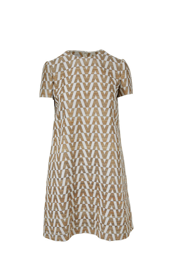 Valentino Ivory & Gold Logo Brocade Short Sleeve Dress