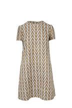 Valentino - Ivory & Gold Logo Brocade Short Sleeve Dress