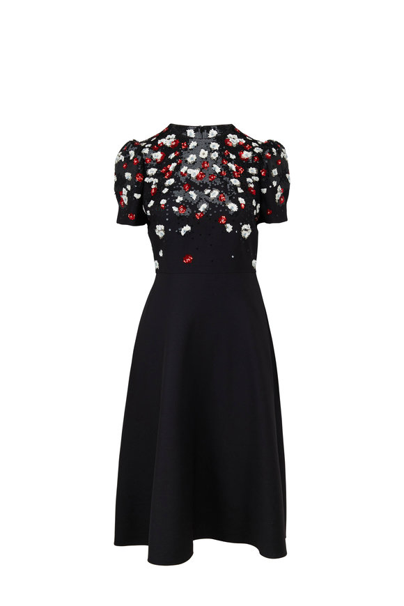 Valentino Crêpe Couture Black Multi Floral Embroidered Dress