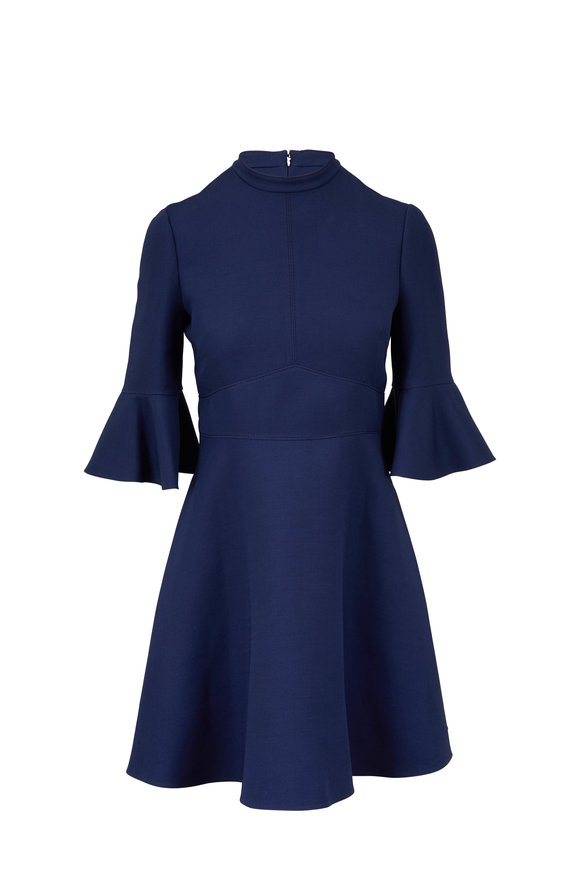 Valentino Navy Blue Crêpe Couture Bell Sleeve Dress