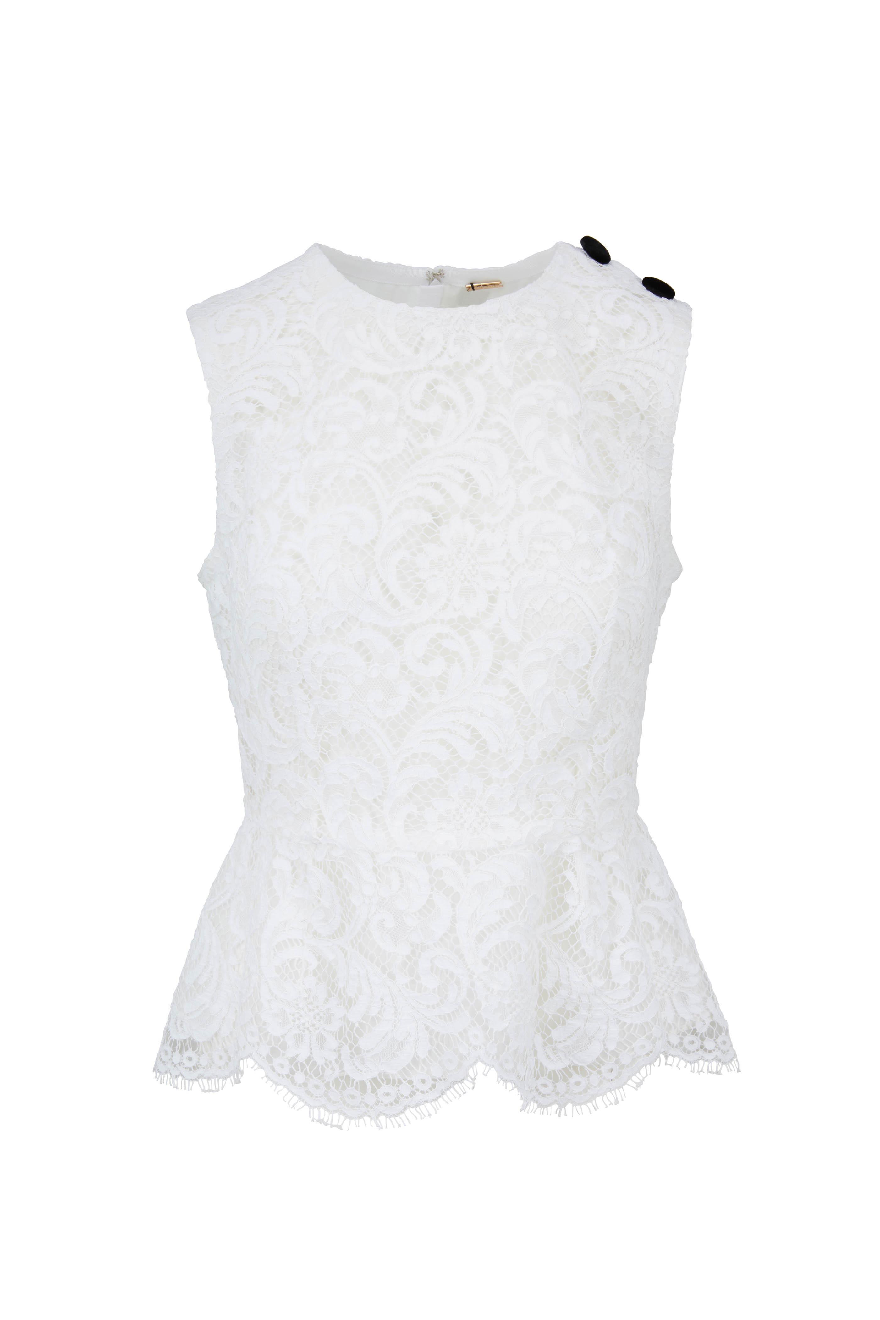 8f113e5eeb0708 Adam Lippes - White Lace Sleeveless Peplum Top