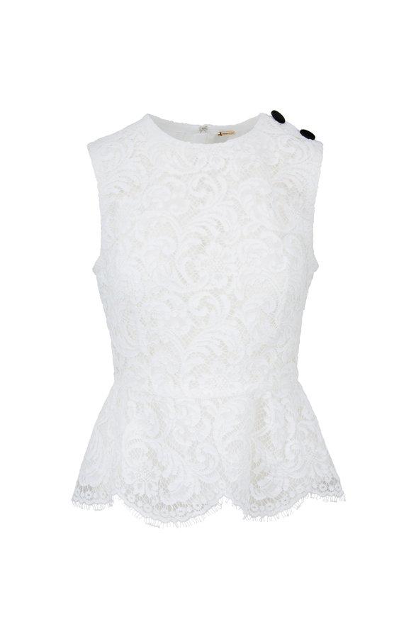 Adam Lippes White Lace Sleeveless Peplum Top