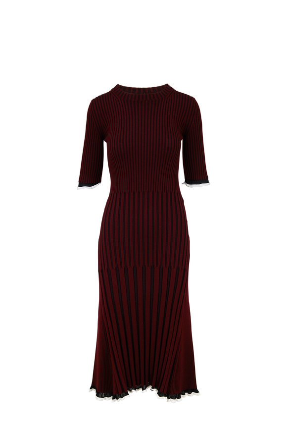 Rosetta Getty Maroon & Black Ribbed Knit Dress