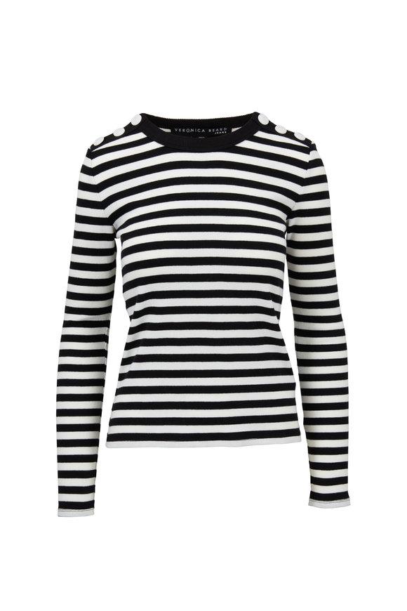 Veronica Beard Mayer Black & White Striped Button Shoulder Top