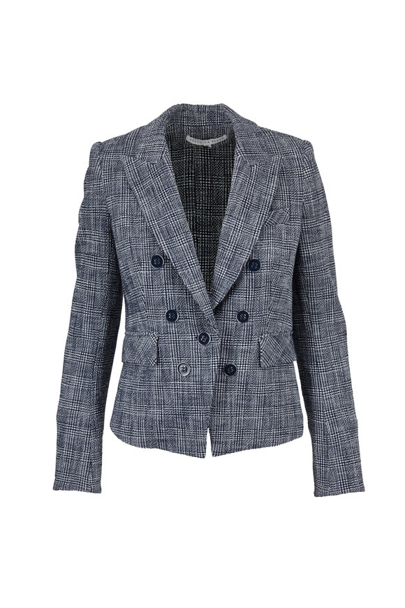 Veronica Beard Diego Navy & White Plaid Dickey Jacket
